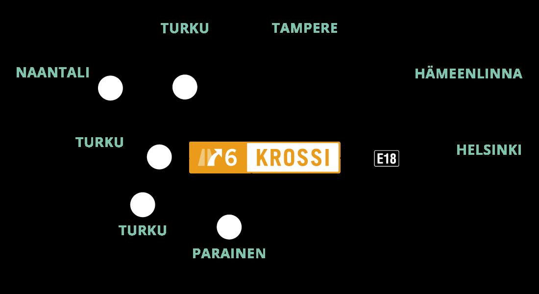 Kartta Krossin keskeisestä sijainnista satamiin, lentokenttiin, valtateihin ja kaupunkeihin nähden.